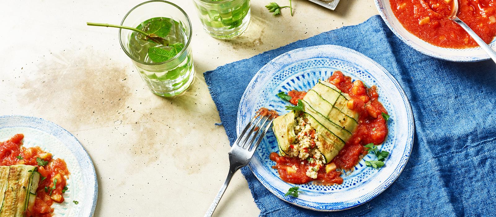 Rezept für gefüllte Zucchini-Päckchen mir Brunch