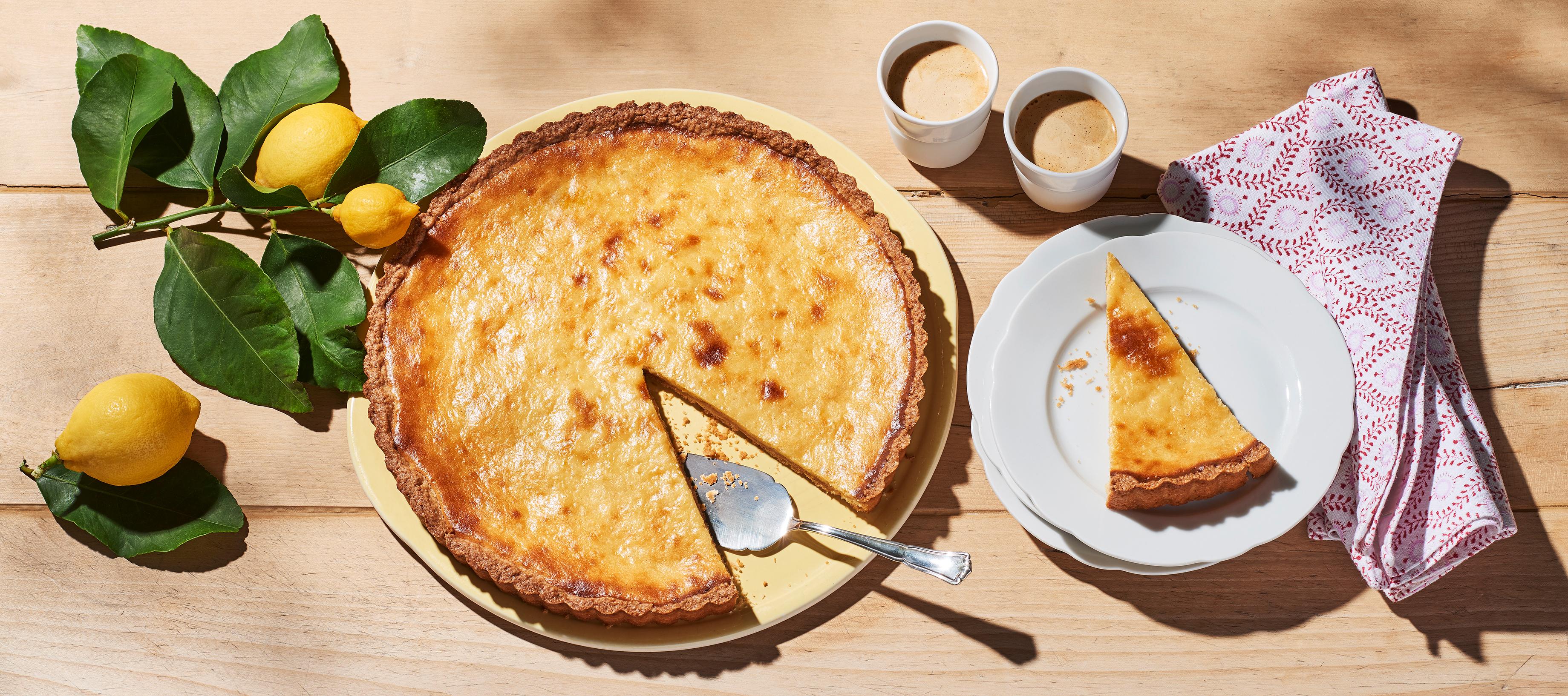 Perfekt für die Sommerparty: Zitronentarte mit Frischkäse.